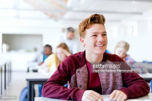 lächelnd rothaarige männliche teenager-studentin in der schule - 18 19 jahre stock-fotos und bilder