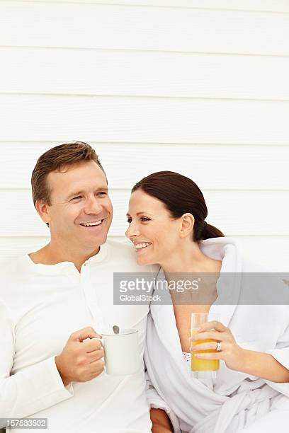 Smiling romantic couple at morning breakfast