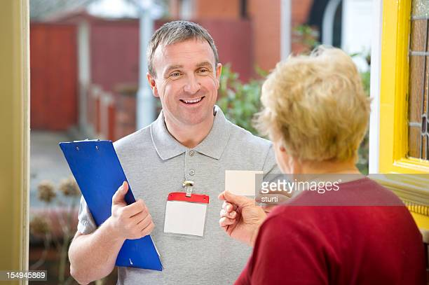 smiling salesman - petition stock photos and pictures