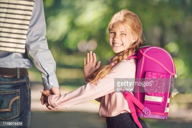 smiling schoolgirl park