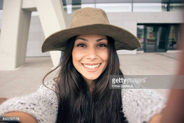 smiling selfie - vlogging stock photos and pictures