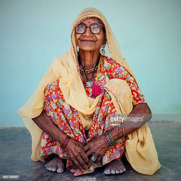 Smiling Senior Indian Woman Real People Portrait