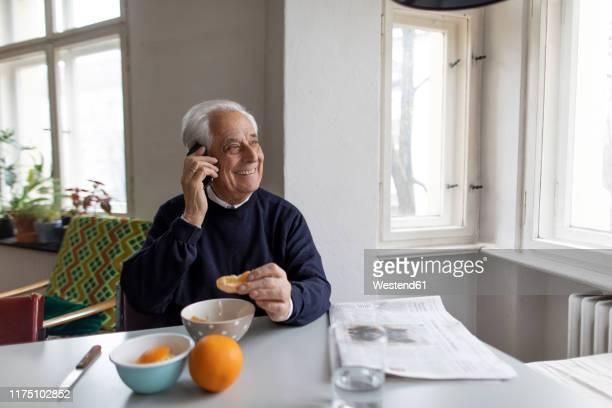 smiling senior man on cell phone at home - hombres mayores fotografías e imágenes de stock