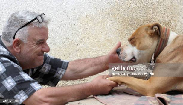 Smiling Senior Man With American Staffordshire Terrier By Wall