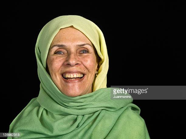 Smiling senior muslim woman
