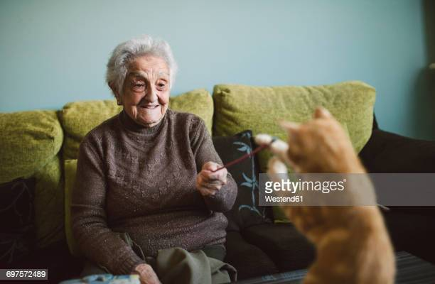 Smiling senior woman playing with her kitten at home