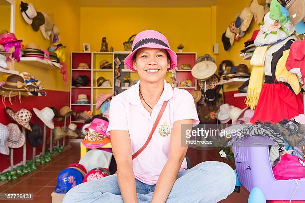 smiling shop owner, thailand - hua hin thailand stock pictures, royalty-free photos & images
