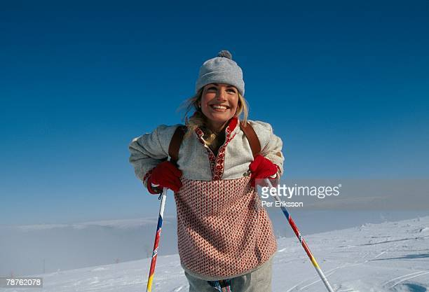 a smiling skier sweden. - ski pole stock pictures, royalty-free photos & images