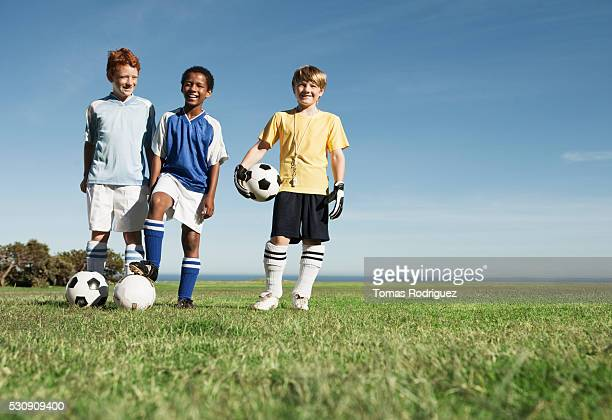 Smiling soccer players