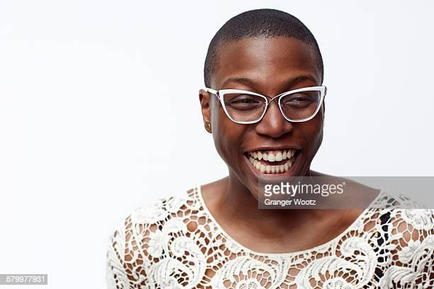Smiling stylish woman wearing eyeglasses