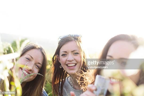 Smiling summer friends