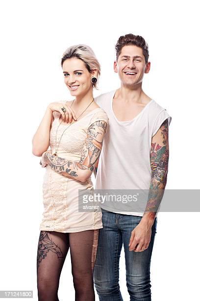 Smiling Tattooed Couple