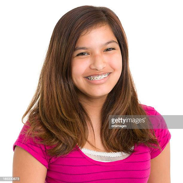 Smiling Teenage Girl With Braces