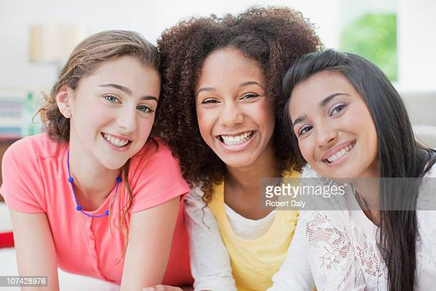 smiling teenage girls - teenagers only stock pictures, royalty-free photos & images