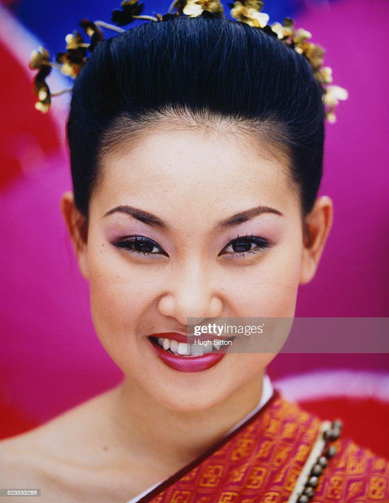 Smiling Thai Woman Wearing Traditional Dress : Stock Photo