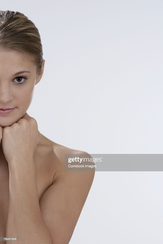 Smiling topless woman : Stockfoto