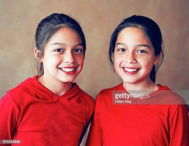 Smiling Twin Girls