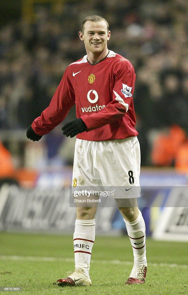 A smiling Wayne Rooney of Manchester United in action during the FA Cup Fourth Round match between Wolverhampton Wanderers and Manchester United at Molineux on January 29, 2006 in Wolverhampton, England.