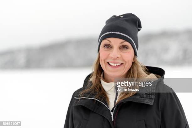 Smiling woman at winter