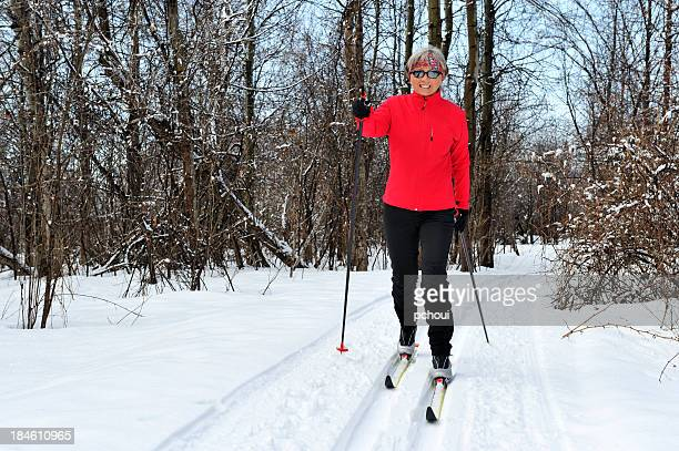 Smiling woman, cross-country skiing