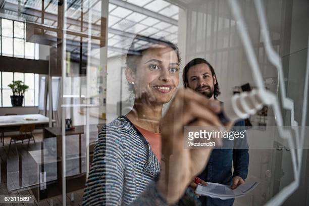 Smiling woman drawing on glass pane in office