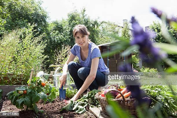 smiling woman gardening in vegetable patch - frauen über 30 stock-fotos und bilder