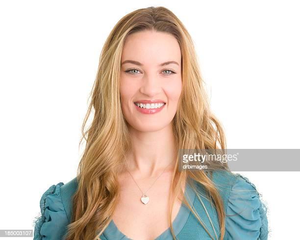 smiling woman headshot - oorhanger stockfoto's en -beelden