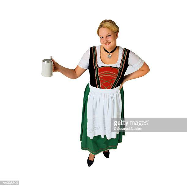 Smiling Woman Holding a Beer Stein