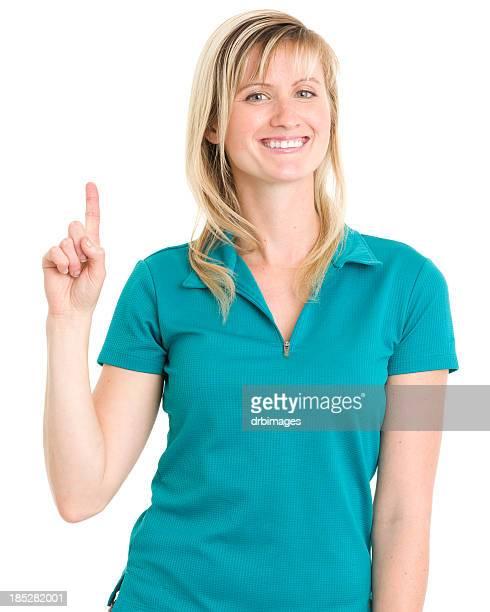 笑顔の女性が 1 つの指まで