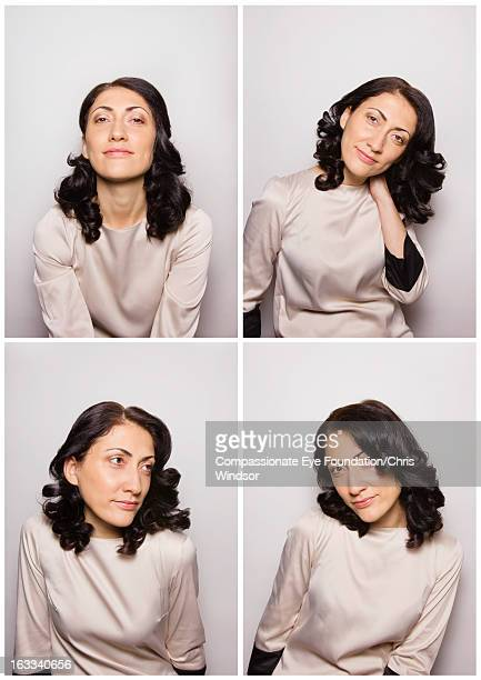 """smiling woman in photo booth - """"compassionate eye"""" stock pictures, royalty-free photos & images"""