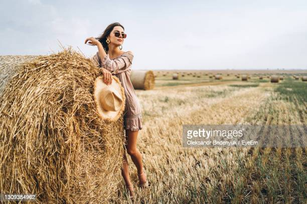 smiling woman in sunglasses with bare shoulders on a background of wheat field and bales of hay. - september stock-fotos und bilder