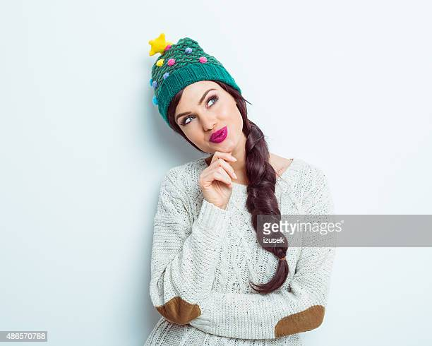 Smiling woman in winter outfit