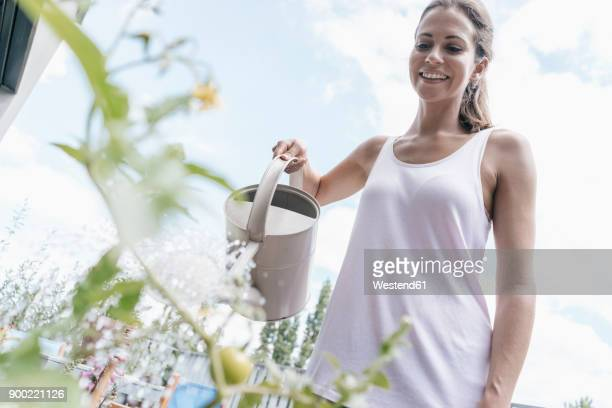 Smiling woman on balcony watering tomato plant