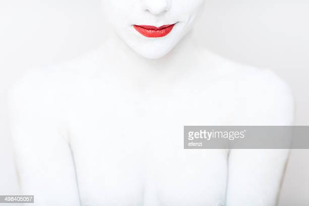Smiling Woman Painted In White