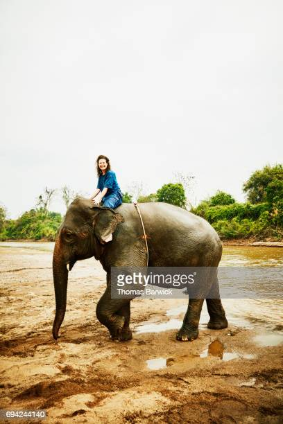 Smiling woman riding Asian elephant near river in Chiang Rai Thailand