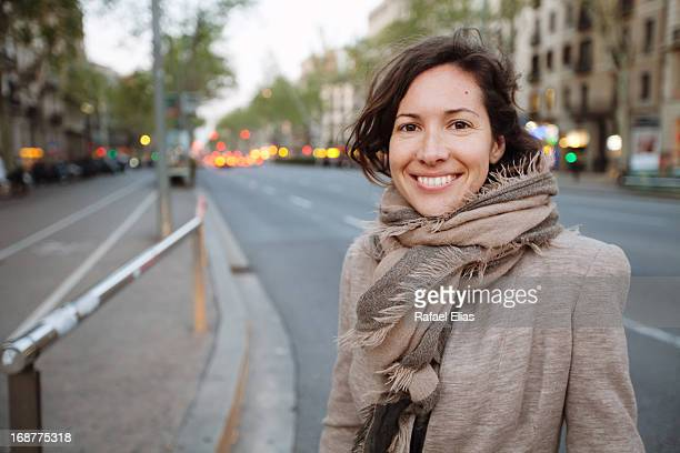 Smiling woman street portrait