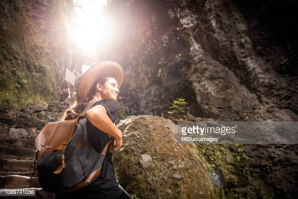Smiling woman traveling.
