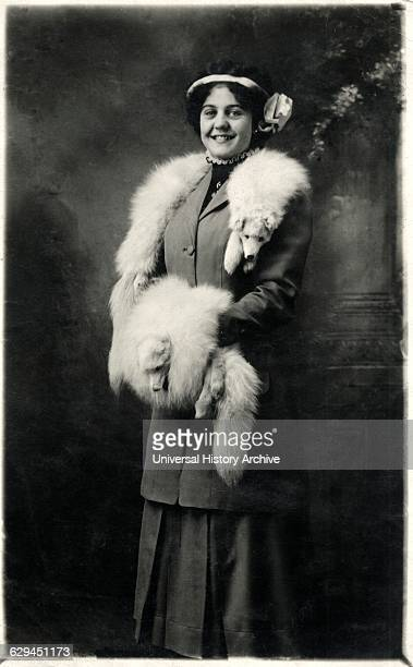 Smiling Woman Wearing Fox Fur Stole and Hand Muff Portrait circa 1918