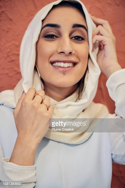 Smiling woman wearing in a hijab