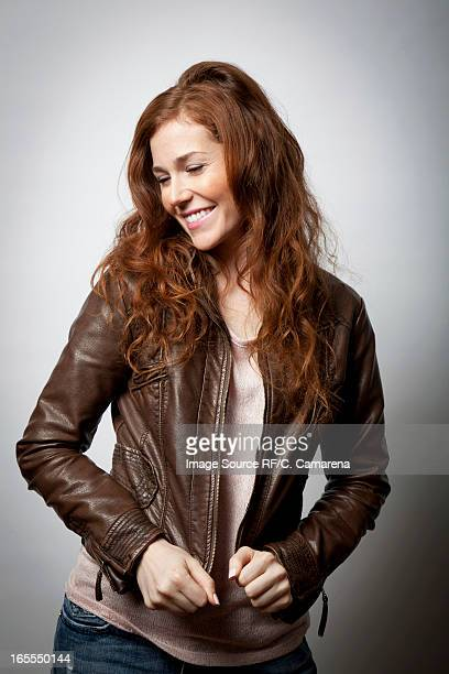 Smiling woman wearing jacket