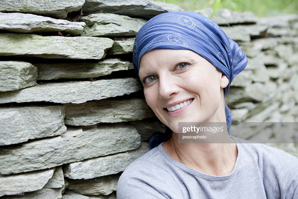 Smiling Woman with Cancer : Stock Photo