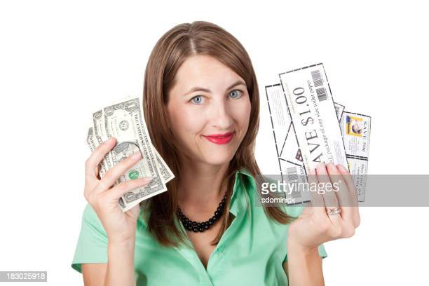 Smiling Woman With Coupons And Money