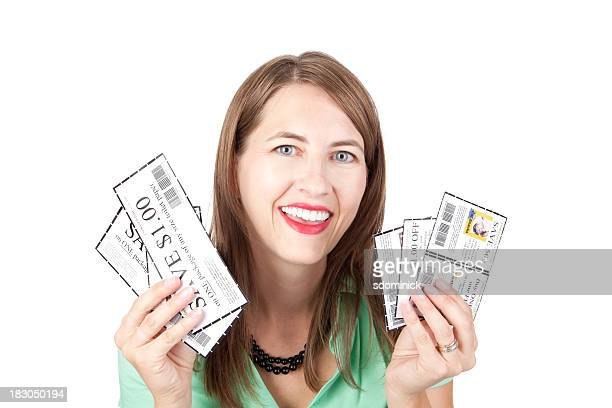 Smiling Woman With Coupons