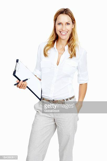 Smiling woman with notepad