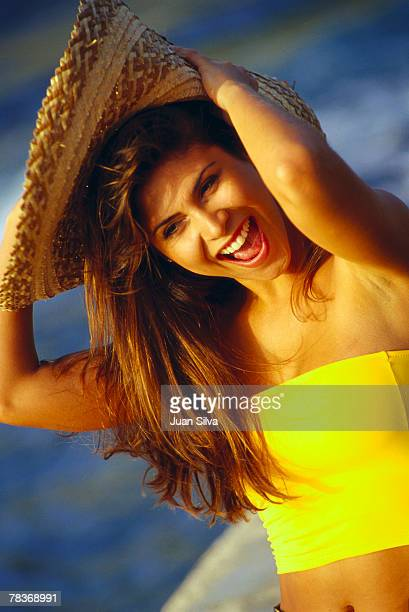 Smiling woman with sombrero