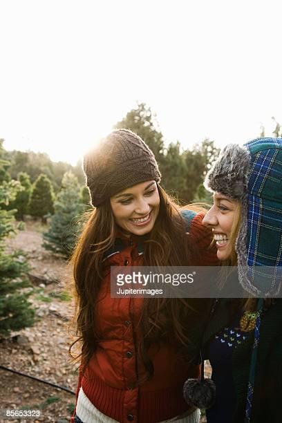Smiling women at Christmas tree farm