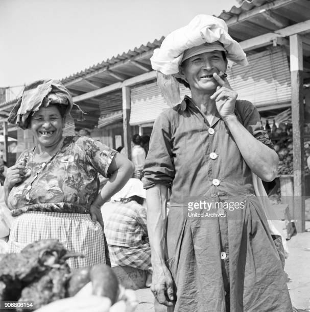 Smiling women at the Paraguay mart in Posadas Argentina 1964