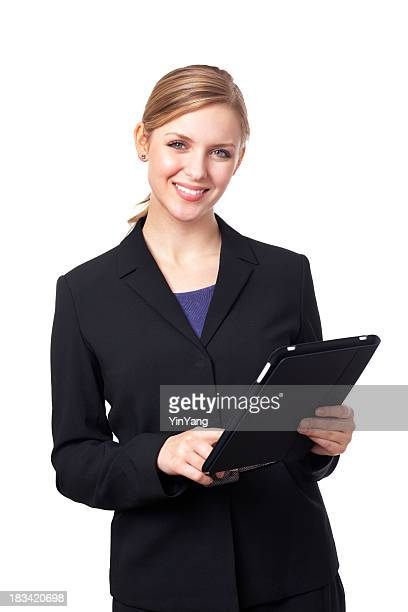 smiling young businesswoman in suit using tablet computer on white - purple suit stock pictures, royalty-free photos & images