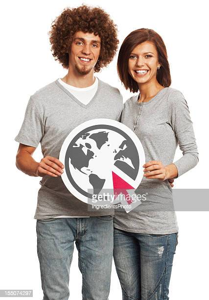 Smiling young couple holding internet sign isolated on white background.