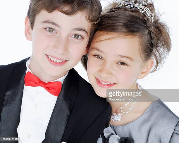 Smiling Young Couple In Wedding Dress